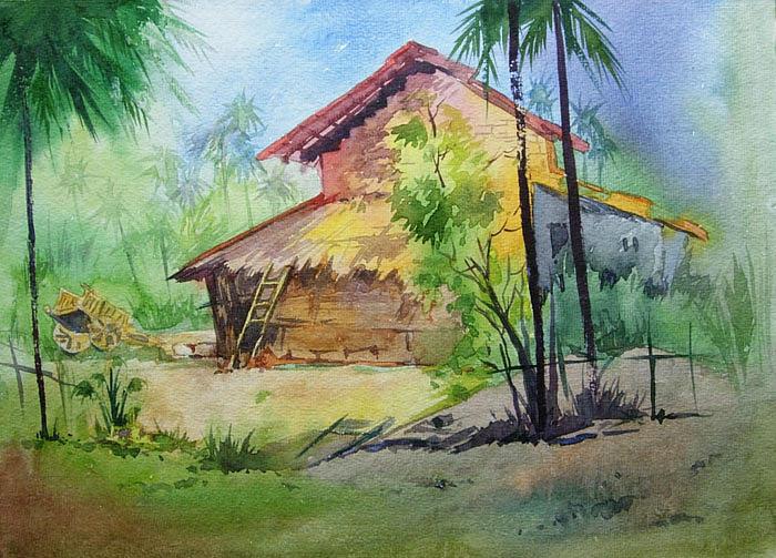 Landscape Painting - Konkan House1 by Deepali Sagade