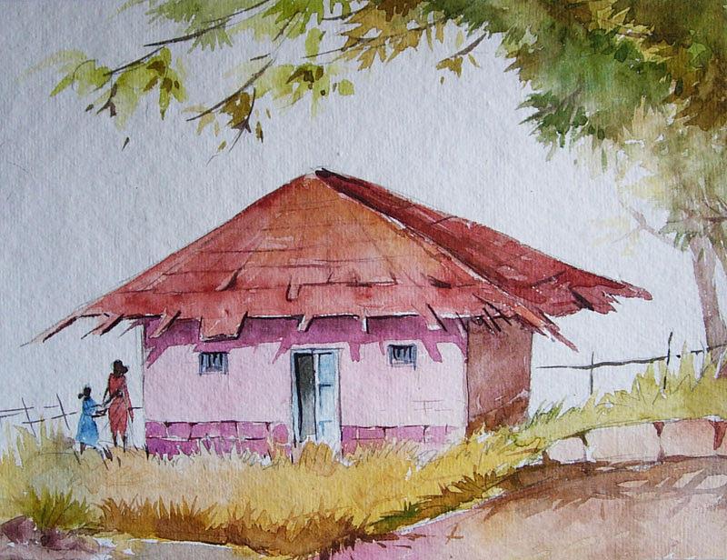 Landscape Painting - Konkan House2 by Deepali Sagade