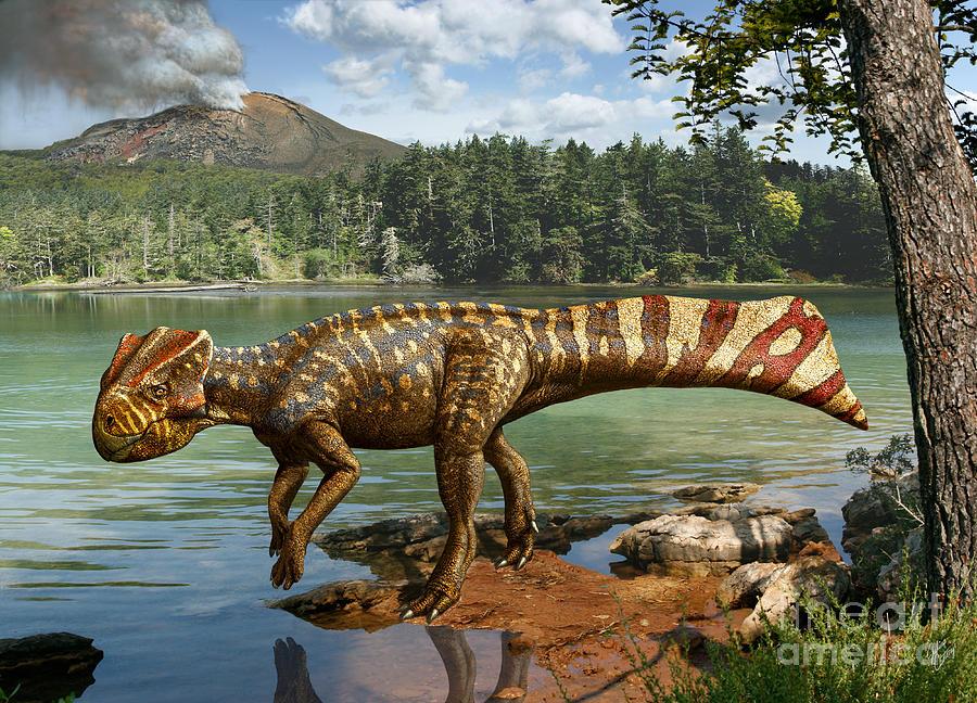 Koreaceratops Hwaseongensis Digital Art - Koreaceratops hwaseongensis by Julius Csotonyi