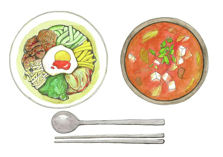 Korean Food Digital Art by Kana hata