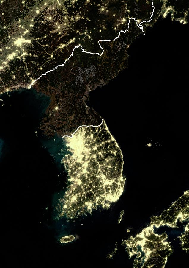 21st Century Photograph - Korean Peninsula At Night by Planetobserver