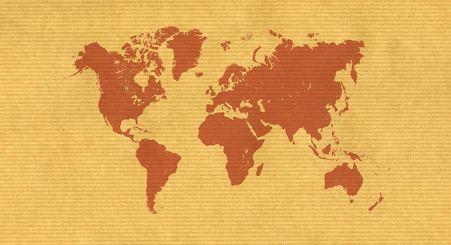 Large Paper World Map.Kraft Paper World Map Digital Art By Hakon Soreide