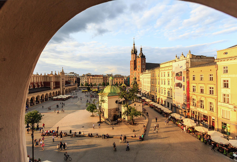 Krakow, Main Square With St. Marys Photograph by Maria Swärd