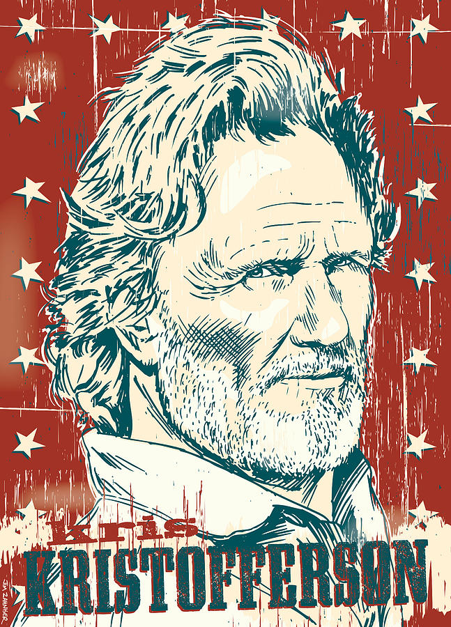 Outlaw Digital Art - Kris Kristofferson Pop Art by Jim Zahniser