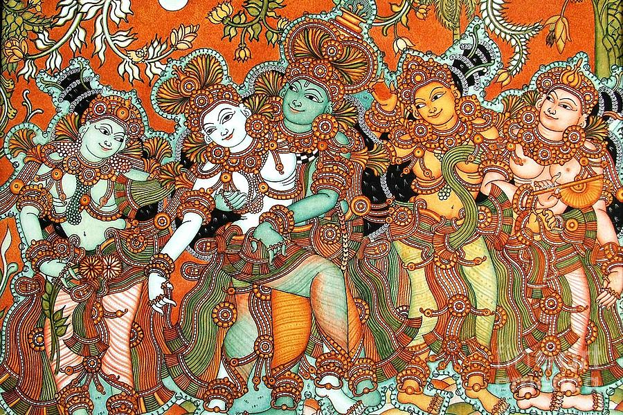 Kerala Painting - Krishna And Radha by Pg Reproductions