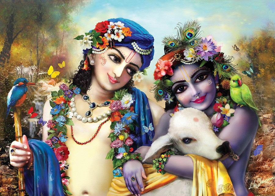 Krishna-balarama Painting - krishna-Balarama by Lila Shravani