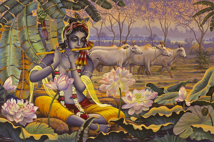 Krishna Painting - Krishna. Evening Flute by Vrindavan Das