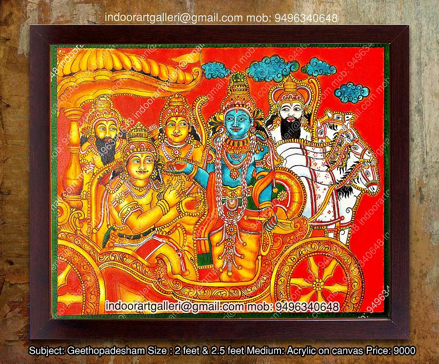 Krishna kerala mural painting painting by indoor for 3d mural art in india