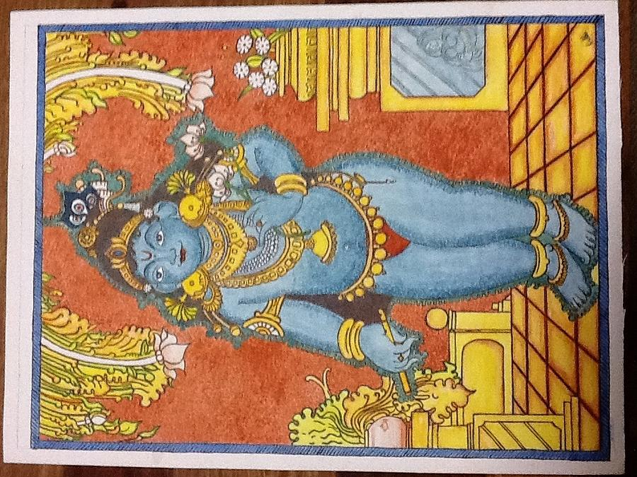 Krishna kerala mural painting by radha sudharshan for Cost of mural painting