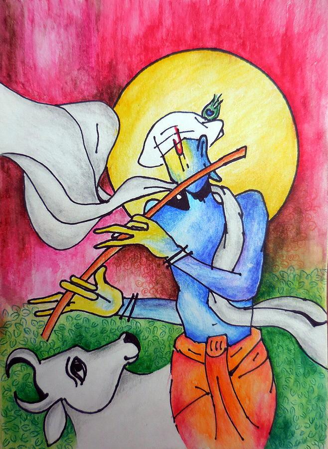 Krishna Leela Painting By Tejaswani Sharma