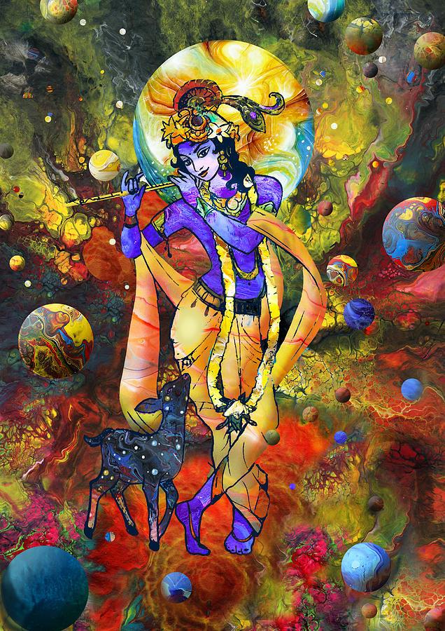 Adha Mixed Media - Krishna With A Star Deer by Lila Shravani