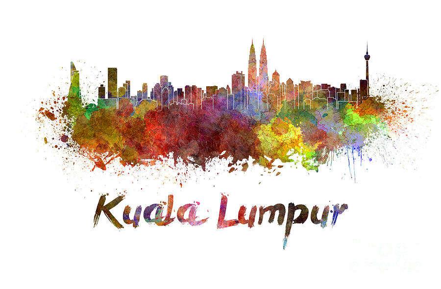 Kuala Lumpur Skyline In Watercolor Painting