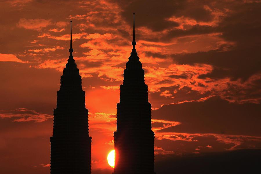 Kuala Lumpur Twin Tower At Sunset Photograph by Ahmad Junaidi Kuala Lumpur Malaysia