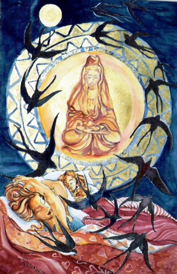 Kuan Yin Painting - Kuan Yin  Born From A Ray Of Light  by Trudi Doyle