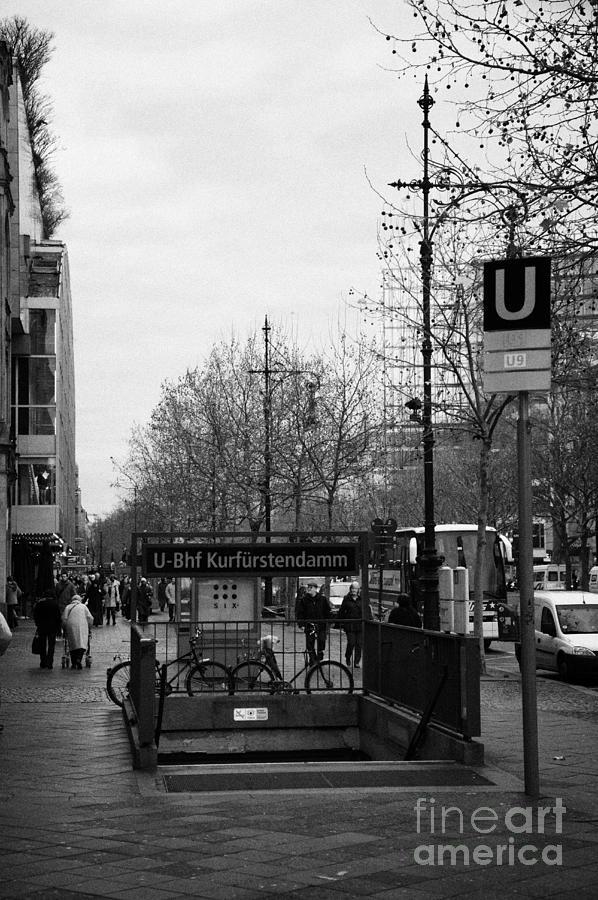 Berlin Photograph - Kufurstendamm U-bahn Station Entrance Berlin Germany by Joe Fox