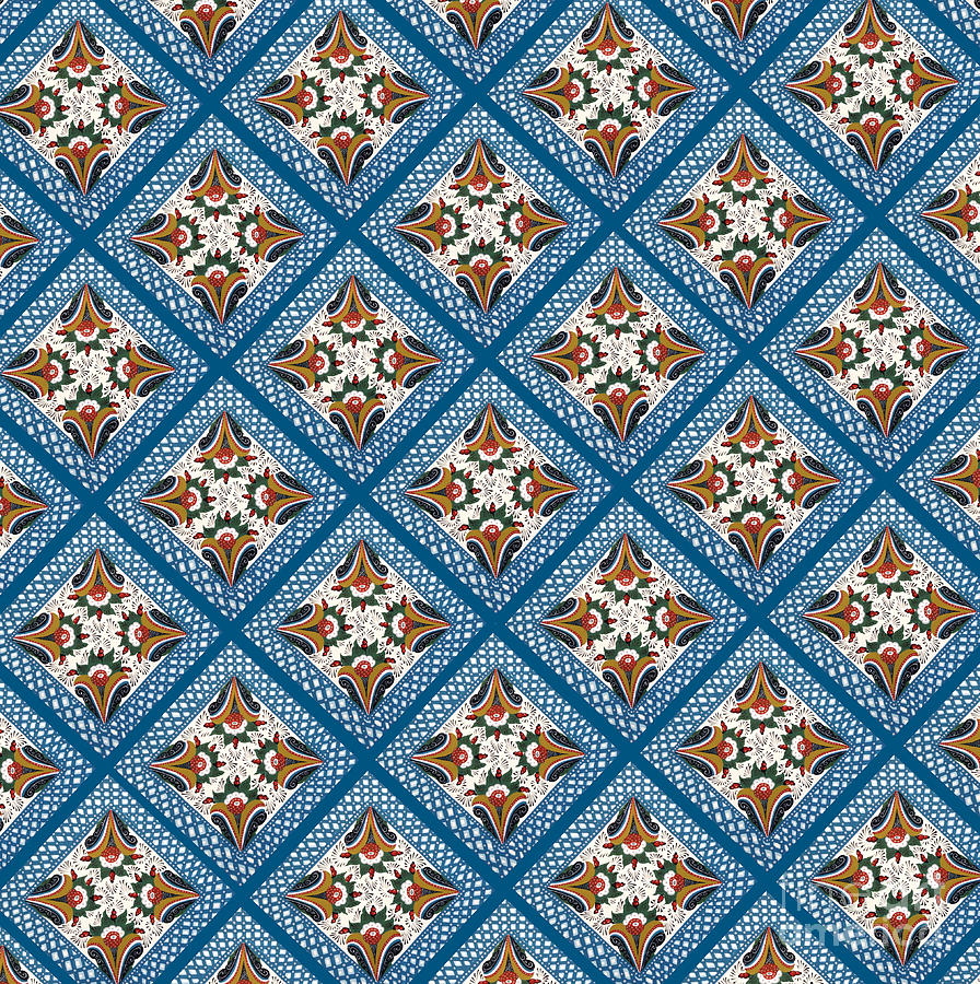 Dala Painting - Kurbits Squares by Leif Sodergren