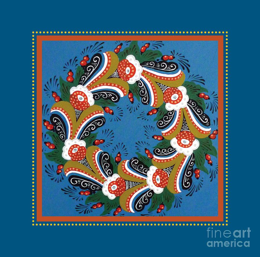 Dala Painting - Kurbits Wreath Blue by Leif Sodergren