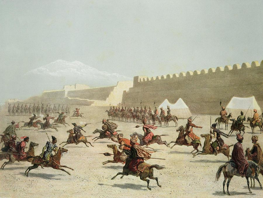 Fortress Drawing - Kurdish And Tatar Warriors At Sadar by Grigori Grigorevich Gagarin