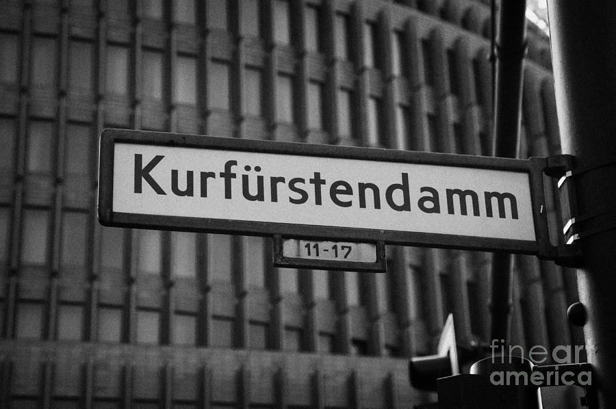 Berlin Photograph - Kurfurstendamm Street Sign Berlin Germany by Joe Fox
