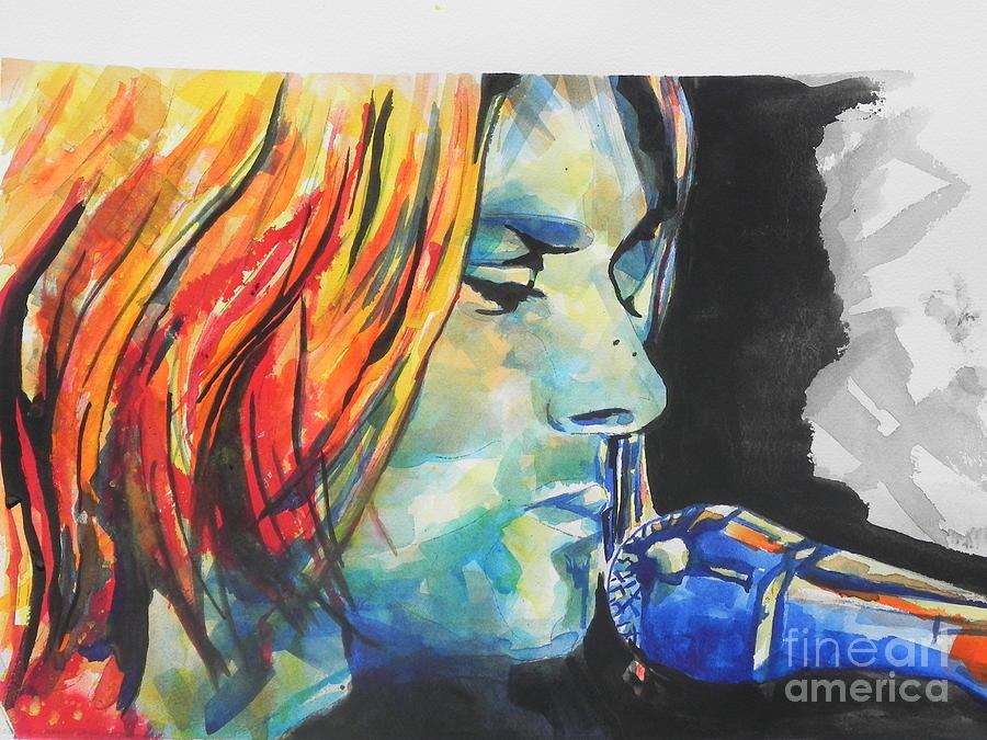 Watercolors Painting - Kurt Cobain by Chrisann Ellis