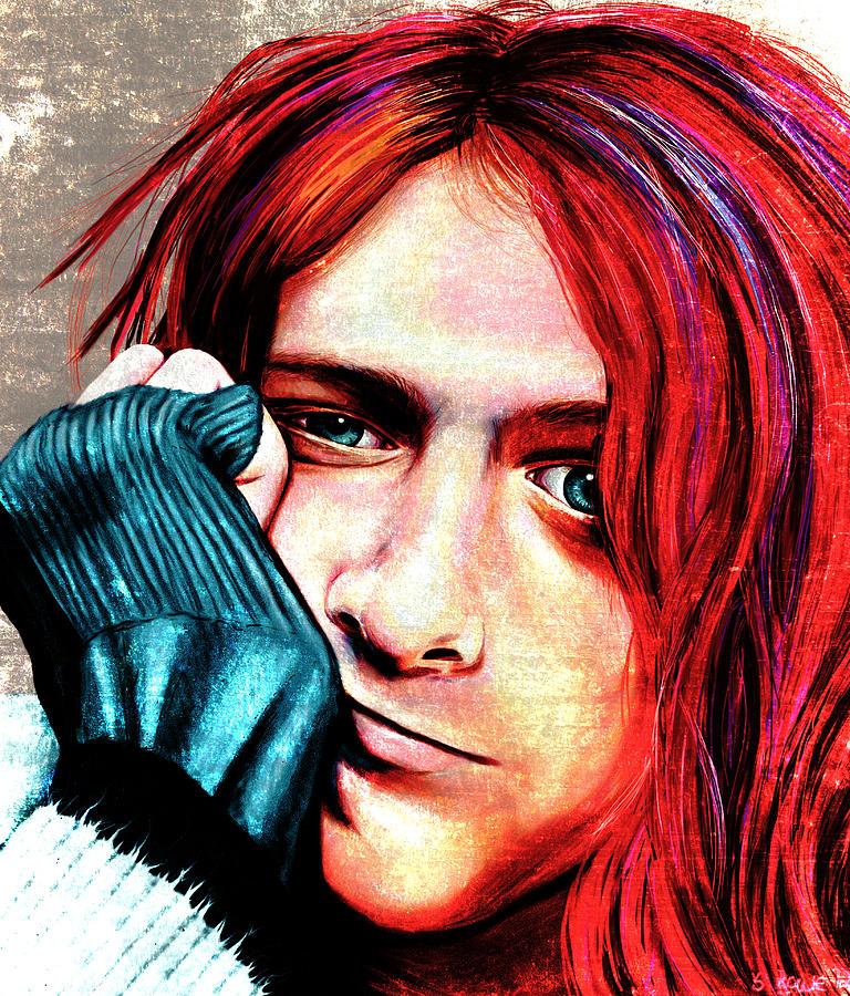 Kurt Digital Art - Kurt Cobain - Grungy Version by Shawna Rowe