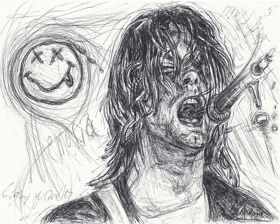Kurt Cobain Drawing By Michael Morgan