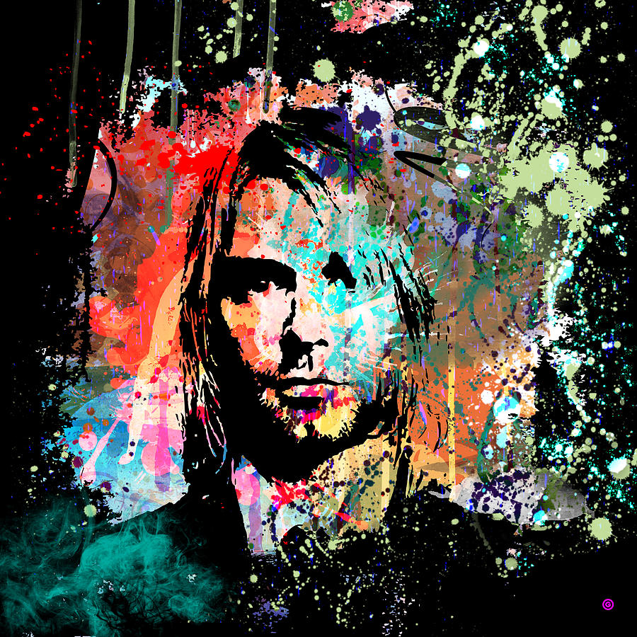 Abstract Portrait Painting - Kurt Cobain Portrait by Gary Grayson