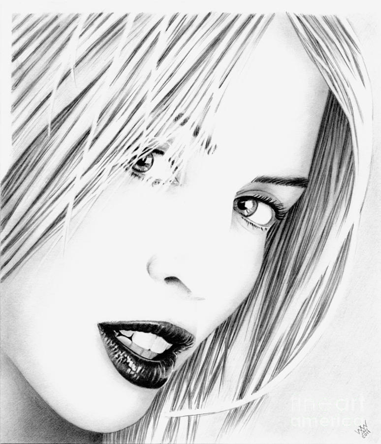 Kylie Minogue Drawing - Kylie Minogue Portrait by Wu Wei