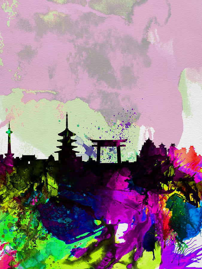 Kyoto Painting - Kyoto Watercolor Skyline by Naxart Studio