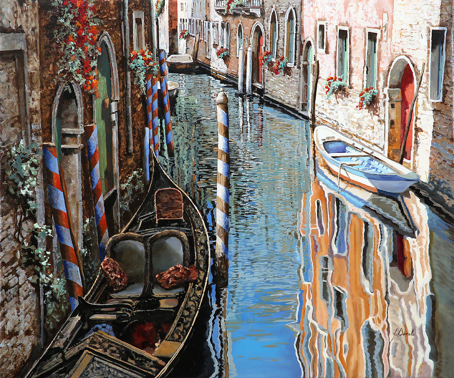 Venice Painting - La Barca Al Sole by Guido Borelli