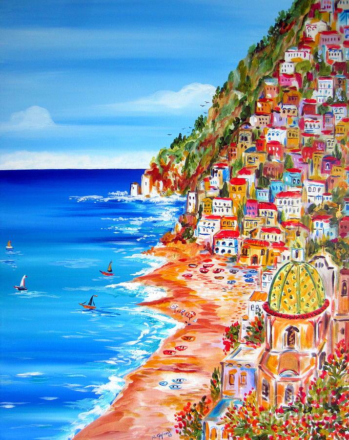 la bella positano amalfi coast painting by roberto gagliardi