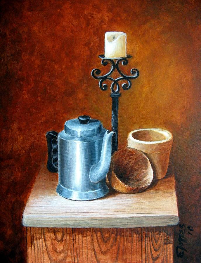 Acrylic Painting - La Cafetera by Edgar Torres
