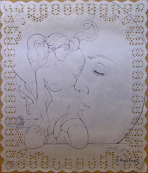 Angel Rengell Drawing - La Caleta by Angel Rengell