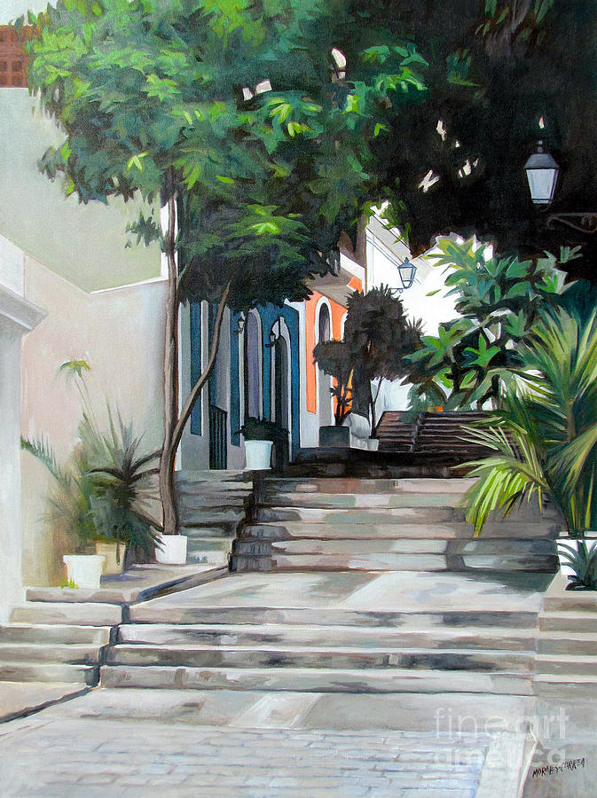 Old San Juan. Spanish Architecture Painting - La Calle Del Hospital by Ben  Morales-Correa
