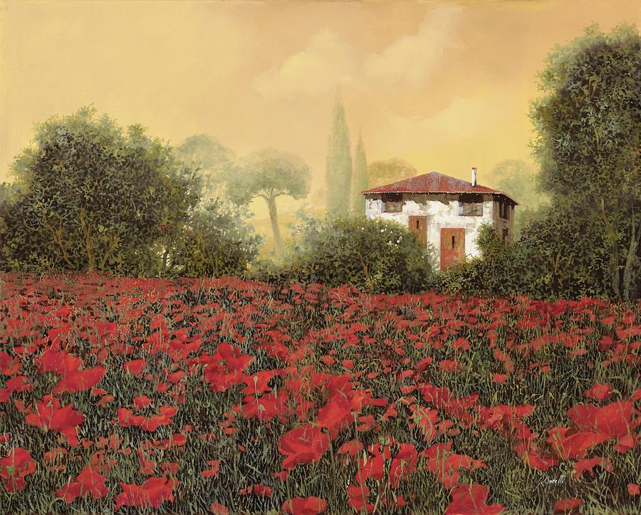 La Casa E I Suoi Papaveri Painting