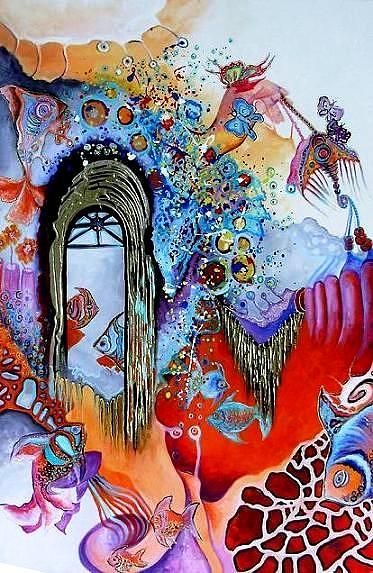 Abstract Painting - La Castelul De Nisip by Mariana Oros
