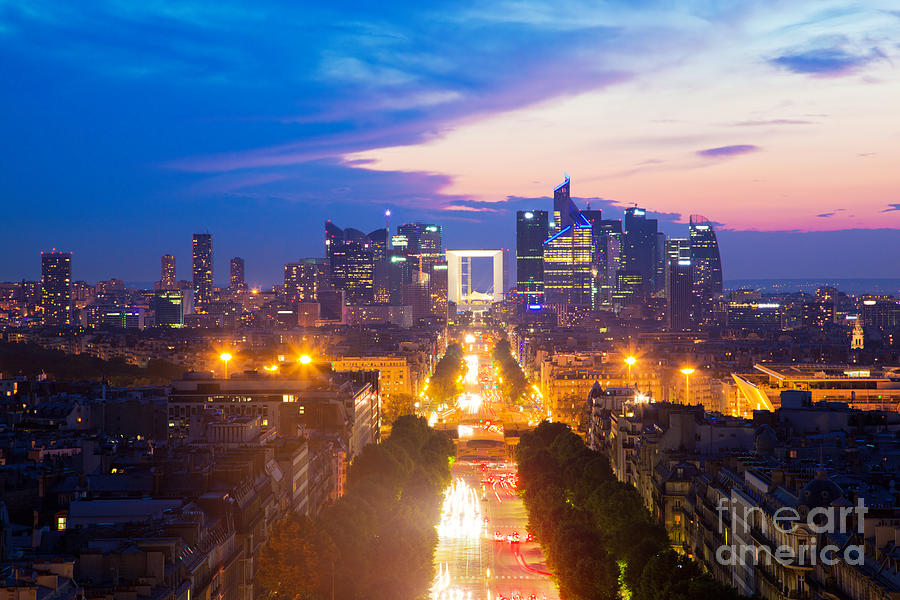 Paris Photograph - La Defense And Champs Elysees At Sunset In Paris France by Michal Bednarek