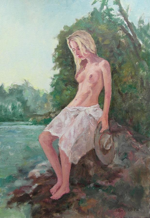 Figure Painting - La Fille To The Pond by Alain Lutz