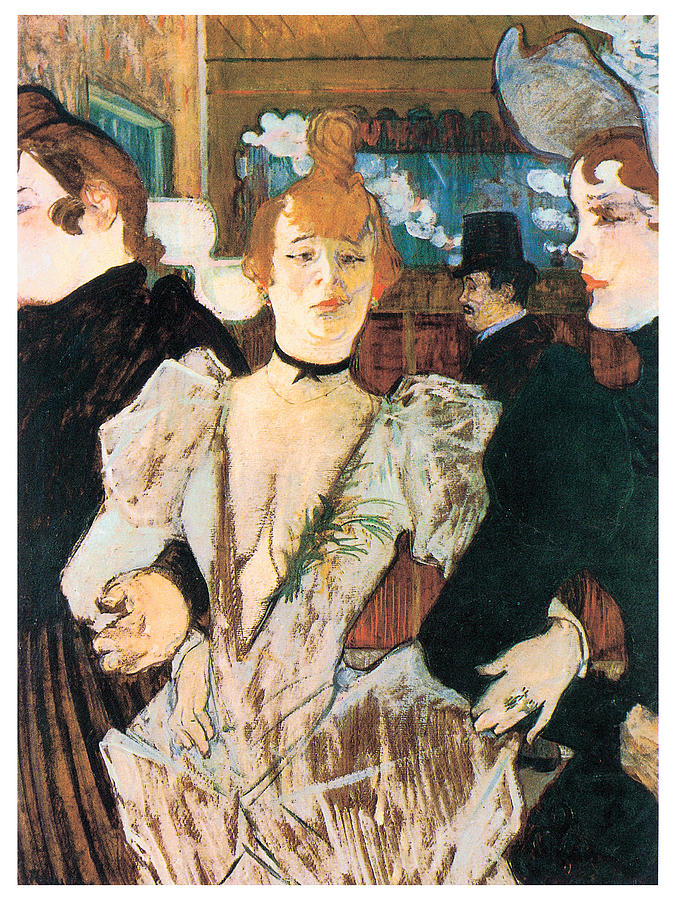 Moulin Rouge Painting - La Goule Arriving At The Moulin Rouge With Two Women by Henri Toulouse-Lautrec