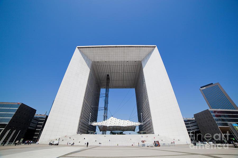 Paris Photograph - La Grande Arch In La Defense Business District Paris France by Michal Bednarek
