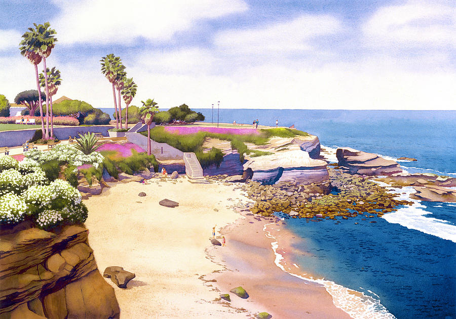 La Jolla Painting - La Jolla Cove by Mary Helmreich