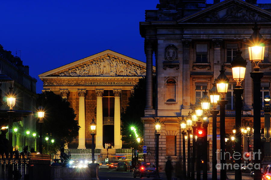 Paris Photograph - La Madeleine At Night by Colin Woods