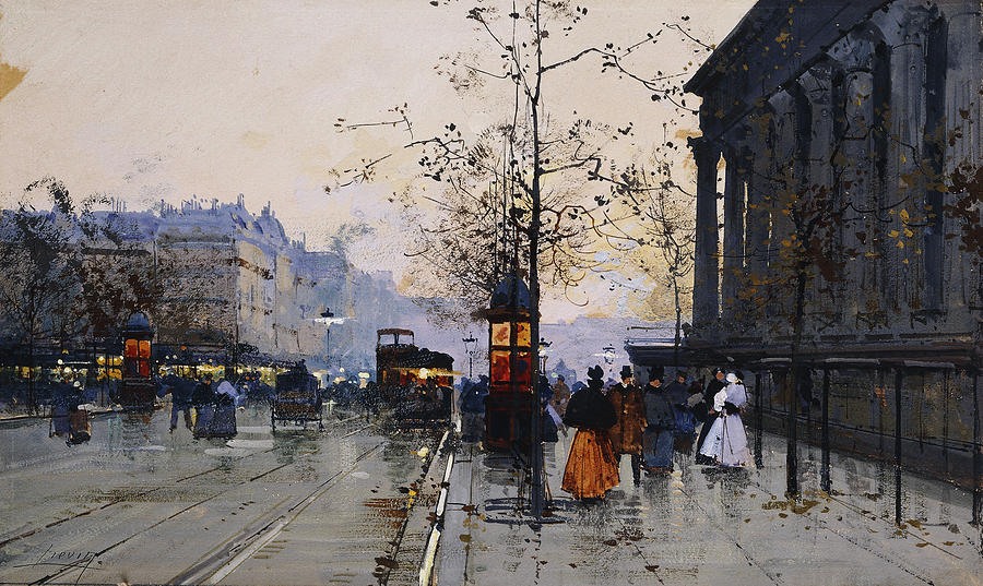 French Painting - La Madeleine Paris by Eugene Galien-Laloue
