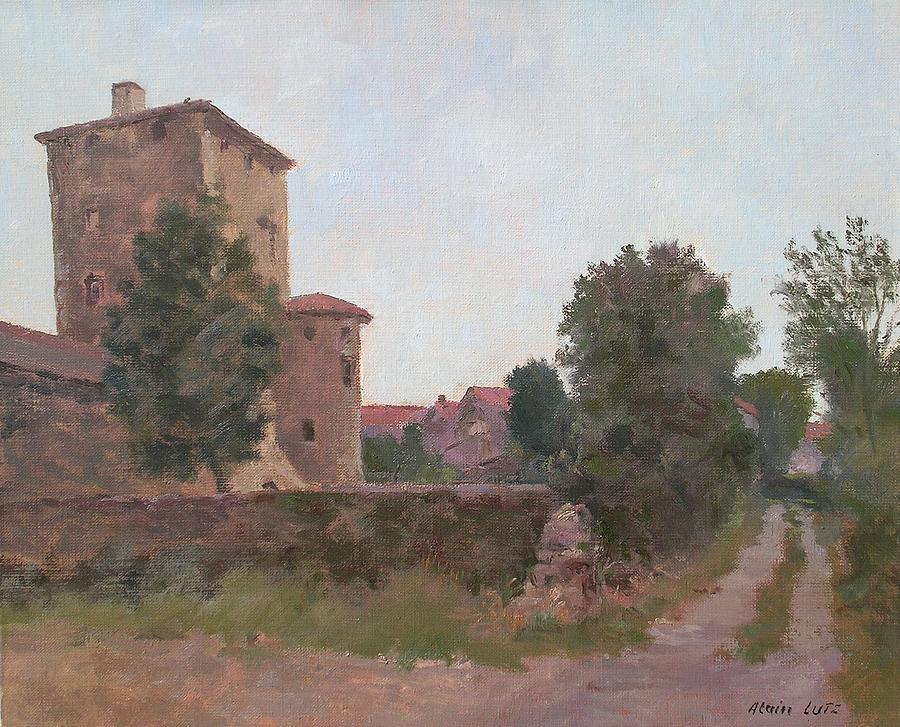 Landscape Painting - La Maison Fortifee Haute-loire by Alain Lutz