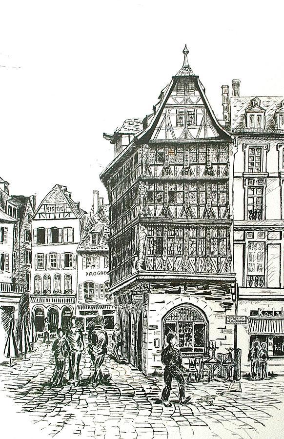 City Scape Drawing - La Maison Kamerzell by Janice Best