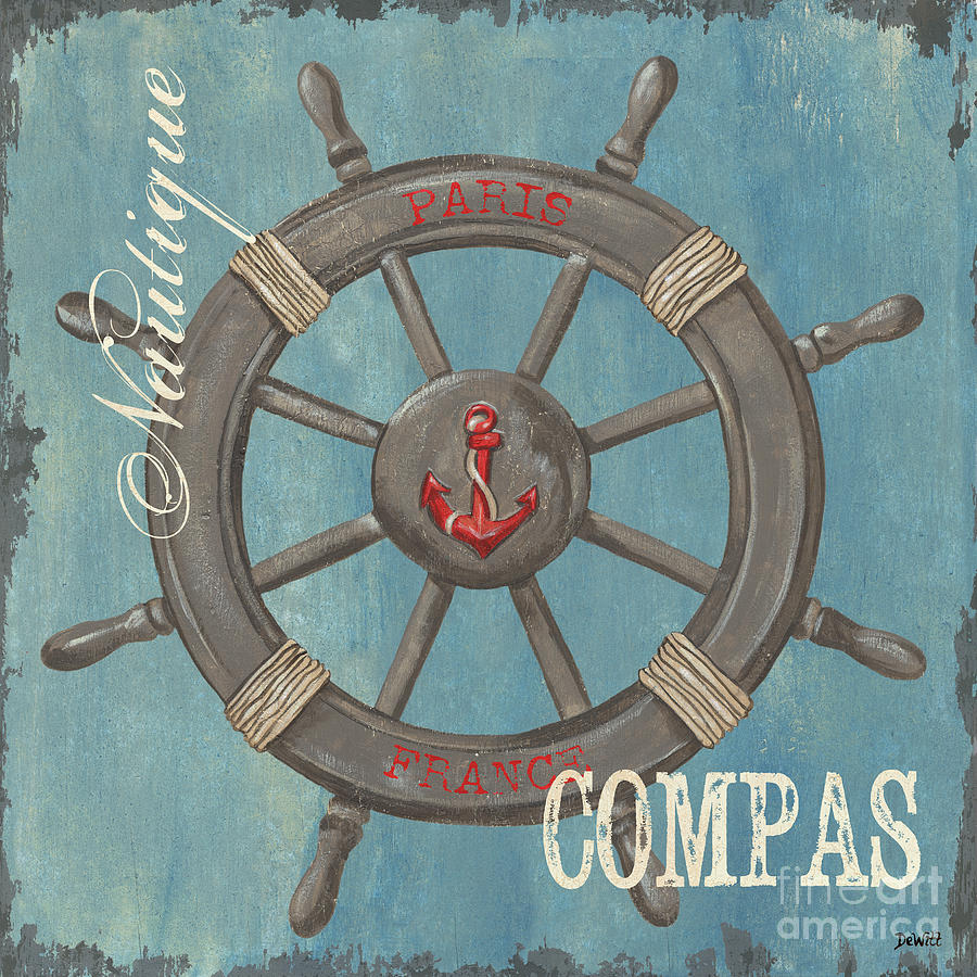 Coastal Painting - La Mer Compas by Debbie DeWitt
