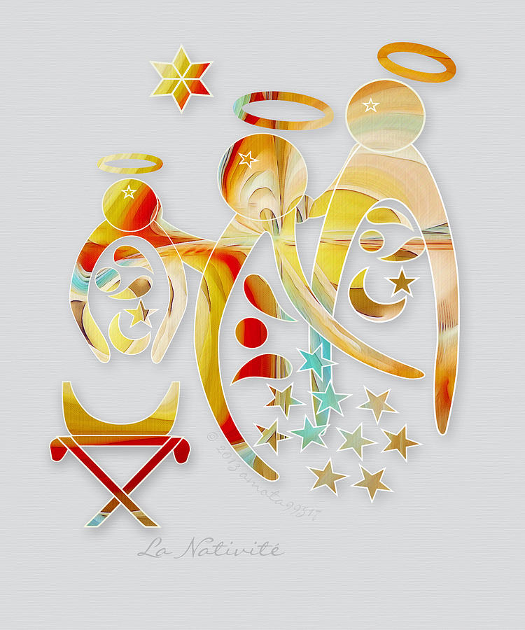 Angel Digital Art - La Nativite by Gayle Odsather