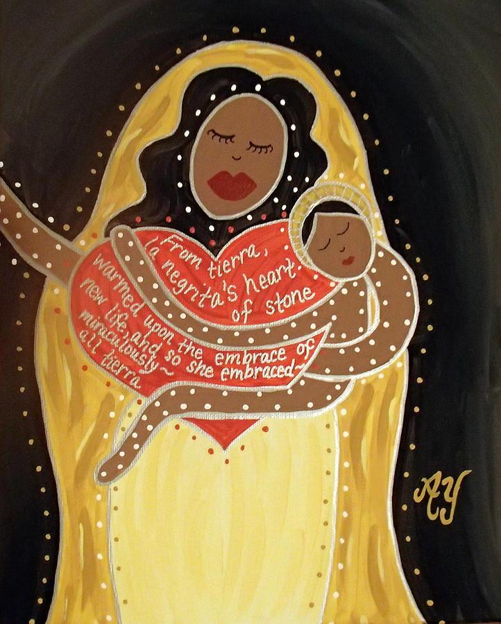 Icon Painting - La Negrita by Angela Yarber