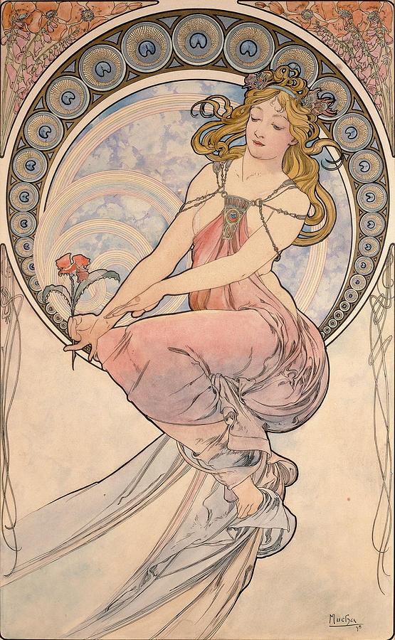 La Peinture, 1898 Watercolour On Card Photograph by Alphonse Marie Mucha