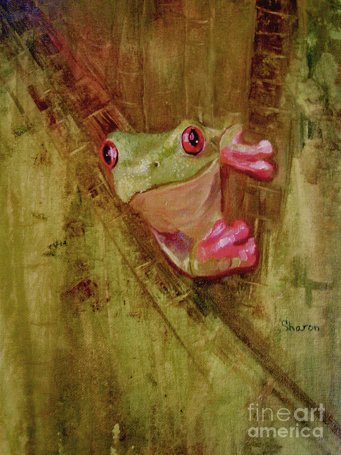 Green Frog Painting - La Petite Grenouille Verte by Sharon Burger
